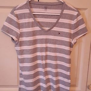 🍒Tommy Hilfiger Ladies Grey/White/Pink Striped T
